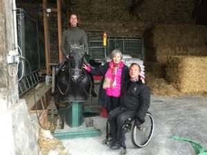 Bettina Drummond (on mechanical horse), Jeanne Boisseau, and Bernard Sachse